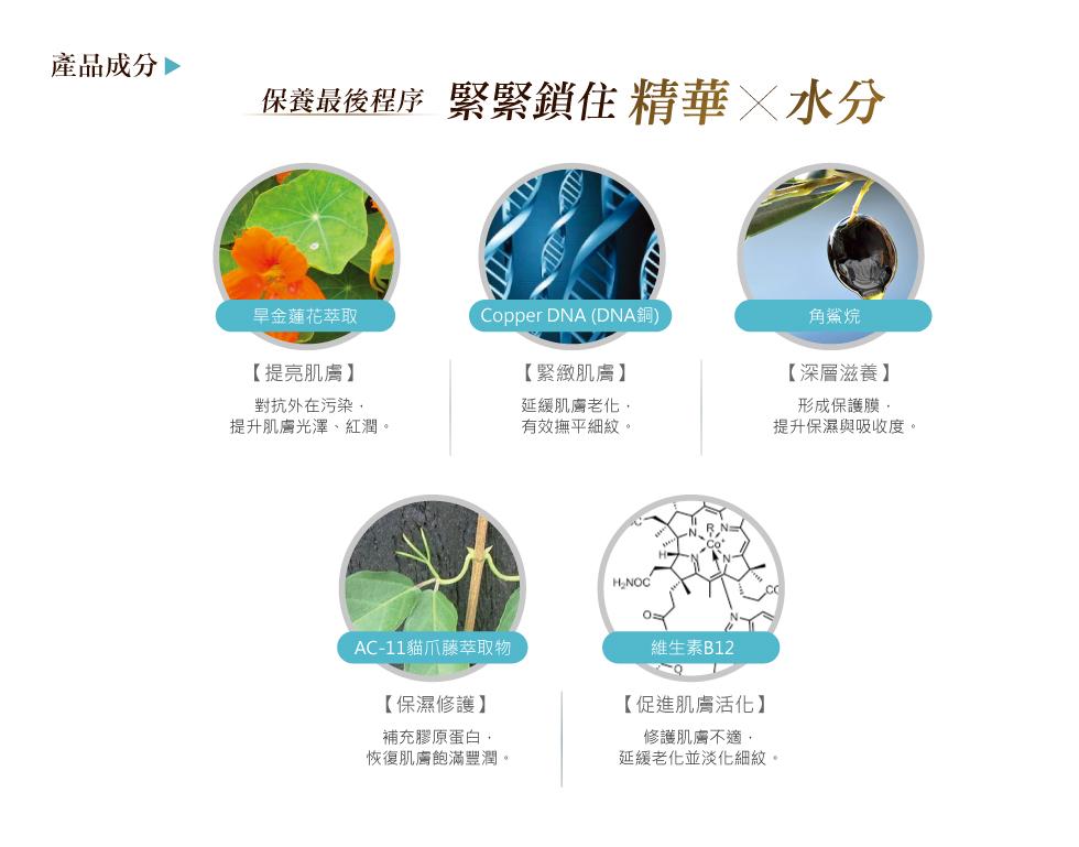 薇佳微晶3D全能乳霜 成分 Copper DNA 旱金蓮花萃取 AJO植物油 AC-11貓爪藤